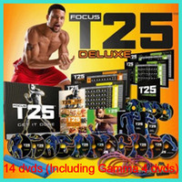 Wholesale Newest DVDs Focus T25 fitness Fast Shipment Shaun T s Crazy Potent Slimming Training Set Alpha Beta Gamma Core Speed T25 Workout