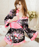 Wholesale Hot sale Cute romantic printing black Japanese Cherry Blossom Kimono sexy game costumes