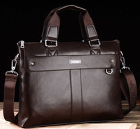 Wholesale OP Male commercial horizontal genuine cowhide leather man bag briefcase laptop bag handbag shoulder bag