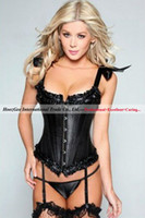 Cheap Free Shipping Classic Full Steel Boned Corset With 22 Metal Boning Sexy Lingerie Bustier+G-string #8187