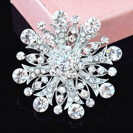 Crystal Snowflake Brooch Vintage Silver Rhodium Plated Wedding Bridal Bouquet Brooch Pin Hot Selling Elegant Banquet Pin For Lady