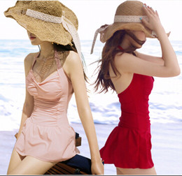 Wholesale 2014 South Korean fresh skirt type bikinis conjoined solid color cover belly girl one piece Halter Pad Backless Thin Dress push up swimwear