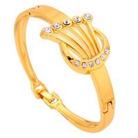 Wholesale Yazilind Jewelry New Hollow Design Crystal Inlay Bracelet K Yellow Gold Filled Bangle Bracelet