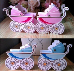 Wholesale Hot Baby Carriage Style Favor Box Baby Shower Favor Gifts boxes Wedding candy Box event party supplies