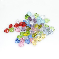 Cheap Free shipping wholesale 120 pcs lot Mix 12 color 5mm floating charms heart shape glass crystal rhinestone birthstone charms