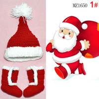 Wholesale Baby todder infant Christmas Fleece hat Red Snow shoes boots Winter Fall Winter Christmas Santa caps boots for baby M M