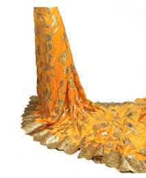 Wholesale SV028 hot sale newest fashion african velvet fabric yards piece yellow with gold
