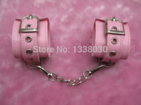Cheap Sex Toys Female Sex Slave Restrict Wrist Cuffs Pink Leather Chastity Belt Device For Women Sex Products Free shipping