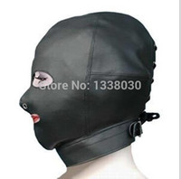 adult halloween costumes - PVC Leather Sex Mask Headgear Exposed Eyes Nose Mouth High Quality Head Hood Adult Game Toys Halloween Costumes