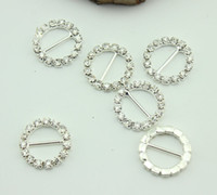 Wholesale 2014 new Round Crystal Rhinestone Ribbon Slider Buckles Wedding Invitations mm ww306