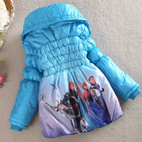 Wholesale autumn Frozen baby clothes Frozen girls dresses boys girls coat jacket wrap cotton padded clothes winter Down jacket Thickening jirong