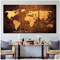 Cheap 3 Piece Wall Art Oil Painting On Canvas Textured Abstract Paintings Pictures Decor about The World Map Pictures For Schoolroom