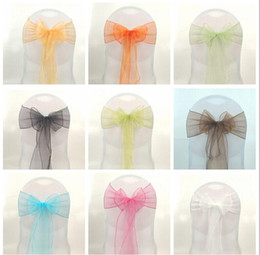 Wholesale Wedding Party Banquet Organza Sash Bows For Chair Cover COLORS X275cm Chair Covers Sashes Bows Wedding Supplies