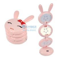 Cheap 5sets Lot Lovely Pink Rabbit Shape USB Folding Up LED Desk Lamp Table lamp Free Shipping 4733