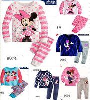 100% cotton suit - 6 sets Girls Minnie Mouse long sleeve pajamas kids cotton pyjamas Children s Cartoon sleepwear Girl s homewear Pants suit designs