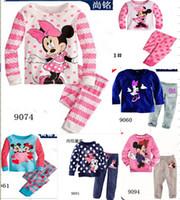 al por mayor 5t la manga larga de la muchacha-6 sistemas / porción de las muchachas de Minnie Mouse pijamas manga larga pijamas de algodón Pantalón homewear de la historieta de la ropa de noche de la muchacha de los niños del juego de 7 diseños