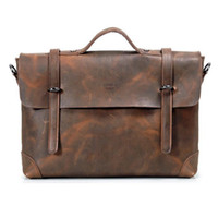 Cheap Mens Rare Crazy Horse Leather Briefcase Laptop Bag Business Bag Men's Genuine leather Tote Bag Messenger shoulder bag 061
