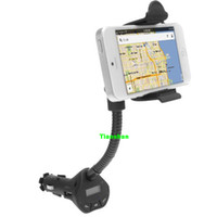 Wholesale Car Holder Mount Mobile Phone Holder Stand FM Transmitter Hands Free Car Kit USB Charger For Samsung S4 S3 Galaxy Note iphone S