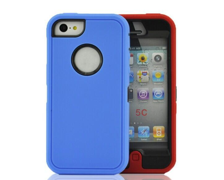 Buy - Hybrid rugged 3 1 robot case TPU + hard PC heavy duty back cover front screen Iphone 4/4s iphone5/5s 5c