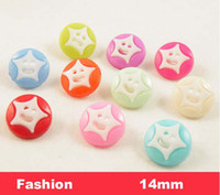 Quilt Accessories Buttons Beads Kawaii candy colors star shape Buttons, Fit Sewing or Scrapbooking 14mm ,bulk buttons for children(SS-1410)