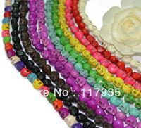 Wholesale multicolor colors skull head skeleton mm turquoise loose beads in bulk diy jewelry making