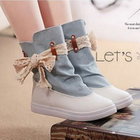 Cheap Free Shipping Newest Half Knee Boots Women Lace Bow Charm Flats Heel Shoes Round Toe Platform Autumn Boots