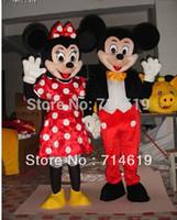 Adultos Mickey Mouse y Minnie Mascot Disfraces de Halloween Outfit vestido de lujo del envío Traje libre
