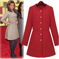 FREE SHIPPING 2014 Fashion long wool coat collarless single breasted women's winter coats white black red T102