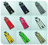Wholesale Men s Unisex Clip on Braces Elastic Slim Suspender wide mix Y back Suspenders Retail