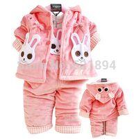 Cheap Wholesale-new 2014 velvet cotton-padded warm coat overall kids clothes sets 2pcs winter girls clothing set frozen girls suspender