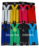Wholesale Men s Unisex Clip on Braces Elastic Suspender cm Wide quot colors mix quot Suspenders Retail