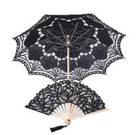 victorian parasol - Black Lace Parasol Victorian Battenburg Sun Umbrella for Bridal Party Wedding Decoration Photography Props