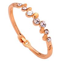 Wholesale Yazilind Jewelry Beautiful K Yellow Gold Filled Bracelet Rhinestone Inlay Bangle Bracelet Lady