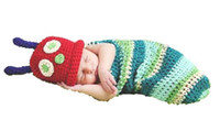 Cheap Crochet Baby Girl Boy Hat Very Hungry Caterpillar Costume Cocoon Set Photo Props 3 to 6 Months