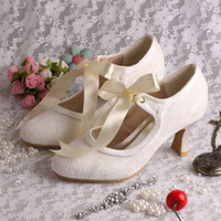 Wholesale Colors Hot Style White Ivory Almond Toe High Heel Lace Pumps Wedding Party Bridal Women Shoes with Ribbon