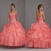 Wholesale 2014 Hot Sale New Sweetheart Sparkle Beaded Organza Quinceanera Dresses Coral Ball Gown Lace Up Pageant Dresses