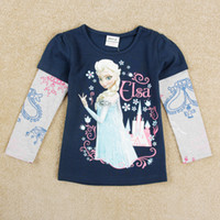 Cheap 2014 Kids Autumn Clothes Long Sleeve Frozen Princess Elsa Cute Children T-shirts Cotton Cartoon Clothing Girl Tee Top