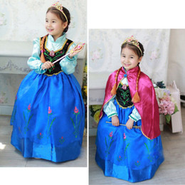Wholesale Girl s Frozen Princess Anna Elsa Cosplay Costume Kid s Party Dresses Cloak Y DH04