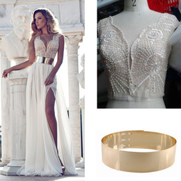 Wholesale Julie Vino Wedding Dresses Real Image Sheath Cap Sleeve Plunging Neck Beaded Embroidery Thigh High Slit Dress with Metal Ajustable Belt