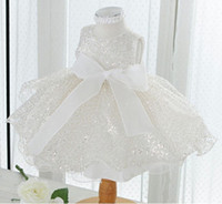 Cheap WW Stunning Sparkle Princess Flower Girl Dresses Jewel Sleeveless Sizes Available Lace Girl's Pageant Dresses Bow Knot Piping Made in China