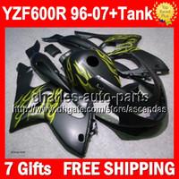achat en gros de thundercat jaune-Matte 7gifts noir + réservoir pour YAMAHA YZF600R Thundercat 96-07 YZF600 R flammes jaunes 2S1 YZF 600R 600 1996 1997 1998 1999 2000 2001 Carénage