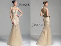 Cheap Trumpet High Neck Janique Evening Dresses Lace Appliques Beading Floor Length Tulle Zipper Hollow Long Sleeve Formal Prom Pagent Gowns W321