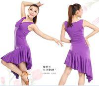 Nuevo Estilo Latino Salsa Tango Rumba Cha-cha Salón de baile del bailarín de la falda del vestido rojo Negro púrpura tl025