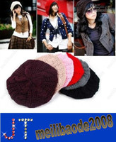 Wholesale Hot Selling Colors Fashion Women Winter Warm Beret Braided Baggy Beanie Knitted Hat Ladies Autumn Cap HSA0481