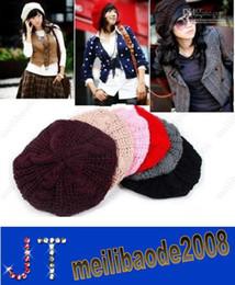 Venda Quente! 8 Cores Moda Inverno das Mulheres Quente Boina Trançado Folgado Gorro, Chapéu Knitted Senhoras Outono Cap HSA0481