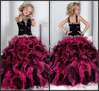 Wholesale Black and Purple Girl Pageant Dresses Custom Made Spaghetti Ball Gown Organza Flower Girl Dresses Floor Length