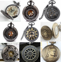 Wholesale Mix Steampunk Styles Men Antique Skeleton Mechanical Pocket Watch Chain Luxury Black Bronze Titanium Gentlemen Half Hunter Fob Watches Gift