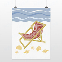 Cheap Light Art Drawing Summer Beach Chair Seashell Handpainted Blue Minimalist Picture Ocean A4 Pop Posters Wall Decor Custom DIY Canvas Painting