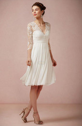 2014 Hot Sales 3 4 Lace Sleeve Short Beach Wedding Dresses V-Neck Ruffles Knee Length Empire Chiffon Bridal Gowns Custom Made