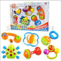 Cheap Wholesale-OP-Gift box set of 6pcs New Lovely Plastic Baby Toys Hand Shake Bell Ring Rattles toys Baby Educational Toys Free shipping